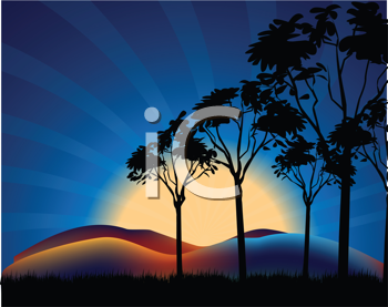 Royalty Free Clipart Image of a Sunset With Deep Blue Sky