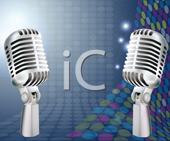 Royalty Free Clipart Image of a Retro Microphone Background