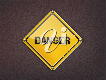 Danger Sign on dark background