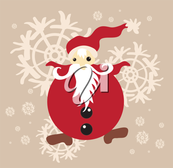 Illustration of stylized Santa Claus on snowflakes background