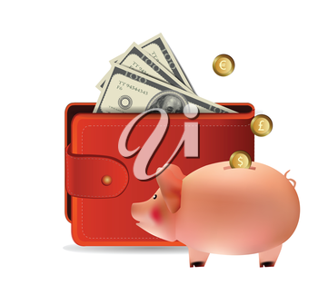 Wallet with piggy bank