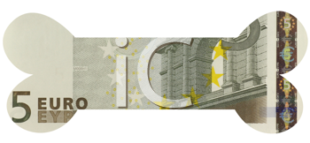 Royalty Free Photo of a 5 Euro Banknote in the Shape of a Bone