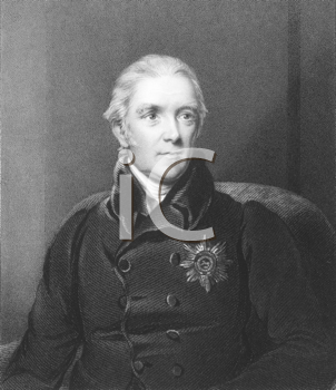 Royalty Free Photo of Henry Halford (1766-1844) on engraving from the 1800s. Physician of the royal family. Engraved by J.Cochran and published in London by Fisher, Son & Co.