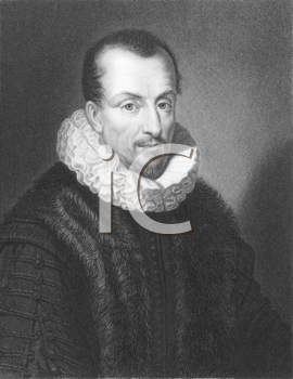 Royalty Free Photo of Jacques Auguste de Thou (1553-1617) on engraving from the 1800s. French historian. Engraved by W.Holl from a picture by Ferdinand and published in London by Charles Knight, Ludga