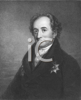 Royalty Free Photo of Johann Wolfgang von Goethe (1749-1832) on engraving from the 1800s. German writer and polymath. Engraved by J. Pofselwhite and published in London by Charles Knight, Ludgate Stre