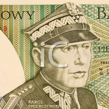 Royalty Free Photo of Karol Swierczewski on 50 Zlotych 1988 Banknote from Poland. Communist general in USSR, Spain and Poland. Accused as a war criminal and one of the people that worked towards the e