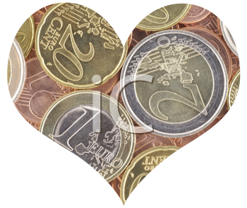 Royalty Free Photo of a Heart Shaped From Euros