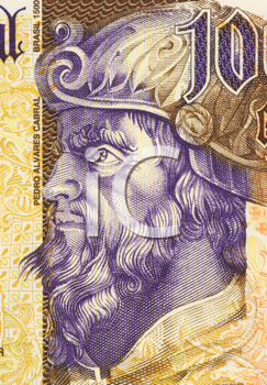 Royalty Free Photo of Pedro Alvares Cabral on 1000 Escudos 2000 Banknote from Portugal. Navigator and explorer. First Portuguese to set foot on Brazil.