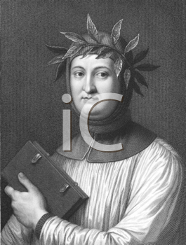 Royalty Free Photo of Francesco Petrarca aka Petrarch (1304-1374) on engraving from the 1800s. Italian scholar, poet and one of the earliest Renaissance humanists