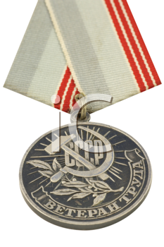 Royalty Free Photo of USSR medal awarded to veterans of labour, founded by the decree of presidium of a supreme soviet of the USSR from January, 18, 1974.