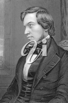 George Fownes (1815-1849) on engraving from 1800s.  British chemist. Engraved by C.Cook after a picture by Collins and published by W.Mackenzie.