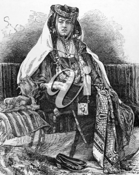 Nail Arab woman on engraving from 1800s. Engraved by A.Kohl.