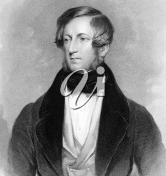 Robert Stewart, 2nd Marquess of Londonderry (1769-1822) on engraving from 1838. Irish and British statesman. Engraved by Jenkinson after a painting by Robinson and published by G.Virtue.