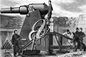 The Moncrieff Seven Ton Gun Carriage on engraving from 1800s.
