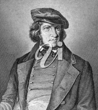 August Heinrich Hoffmann von Fallersleben (1798-1874) on engraving from 1859. German poet. Engraved by unknown artist and published in Meyers Konversations-Lexikon, Germany,1859.