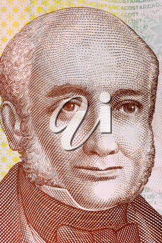 Braulio Carrillo Colina (1800-1845) on 1000 Colones 2009 Banknote from Costa Rica. Head of State of Costa Rica during 1835-1837 and 1838-1842.