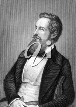 Franz Schuselka (1811-1886) on engraving from 1859. Politician of the Austrian Empire. Engraved by Metzeroth and published in Meyers Konversations-Lexikon, Germany,1859.