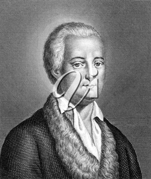Friedrich von Hagedorn (1708-1754) on engraving from 1859. German poet. Engraved by unknown artist and published in Meyers Konversations-Lexikon, Germany,1859.