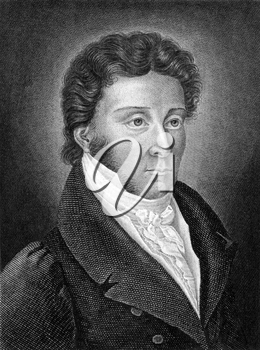 Karl von Rotteck (1775-1840) on engraving from 1859. German historian. Engraved by C.Barth and published in Meyers Konversations-Lexikon, Germany,1859.