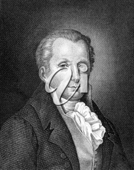 Moritz August von Thummel (1738-1817) on engraving from 1859. German humorist and satirical author. Engraved by unknown artist and published in Meyers Konversations-Lexikon, Germany,1859.
