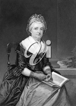 Martha Washington (1731-1802) on engraving from 1873. Wife of George Washington,president of the USA. Engraved by unknown artist and published in ''Portrait Gallery of Eminent Men and Women with Biogr