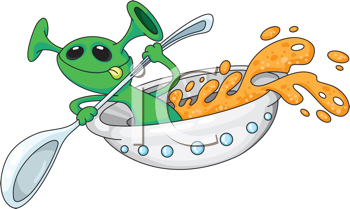 Royalty Free Clipart Image of an Alien in a Saucer