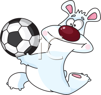 Royalty Free Clipart Image of a Polar Bear With a Soccer Ball