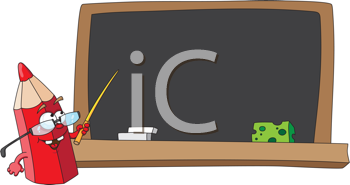 Royalty Free Clipart Image of a Pencil With a Pointer at a Chalkboard