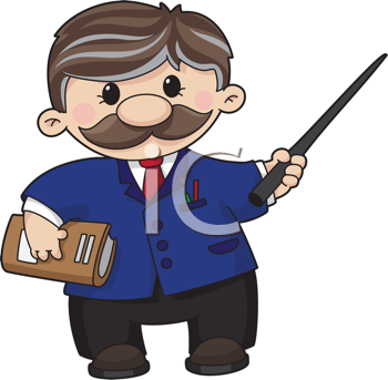 Royalty Free Clipart Image of a Teacher With a Pointer