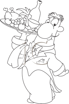 Royalty Free Clipart Image of a Waiter With a Tray of Food