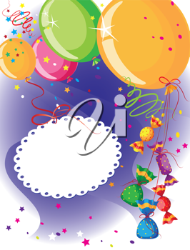 illustration of a balloons and candy postcard