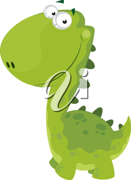 illustration of a green smiling dino