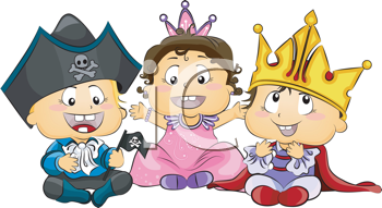 Royalty Free Clipart Image of Little Ones in Costume