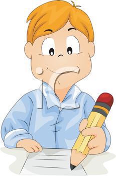Royalty Free Clipart Image of a Boy Writing