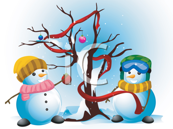 Royalty Free Clipart Image of Two Snowmen Decorating a Tree