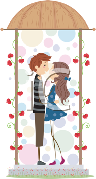 Royalty Free Clipart Image of a Couple in a Gazebo
