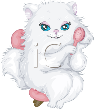 Royalty Free Clipart Image of a White Cat With a Pink Brush