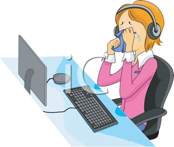 Royalty Free Clipart Image of a Crying Call Centre Person