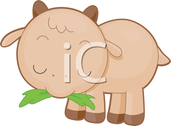 Royalty Free Clipart Image of a Goat Eating Grass