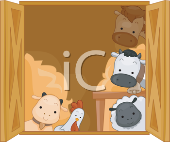 Royalty Free Clipart Image of Animals in a Barn