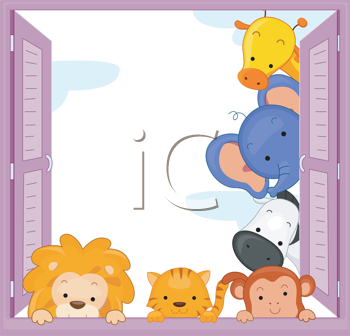 Royalty Free Clipart Image of a Zoo Animals Peeking Out a Window