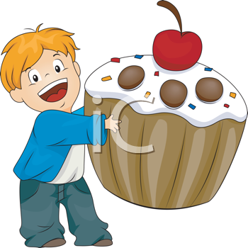 Royalty Free Clipart Image of a Boy With a Cupcake