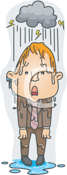 Royalty Free Clipart Image of a Man Getting Soaking Wet