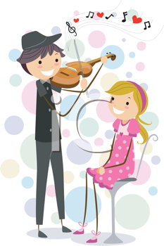 Royalty Free Clipart Image of a Guy Playing a Violin for a Girl