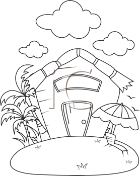 Royalty Free Clipart Image of a Small Cottage With Palm Trees