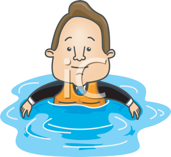 Royalty Free Clipart Image of a Man Wearing a Life Jacket in Water