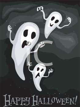 Royalty Free Clipart Image of a Ghostly Halloween Greeting