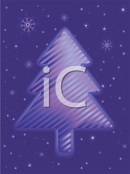 Royalty Free Clipart Image of a Striped Christmas Tree on a Snowflake Background