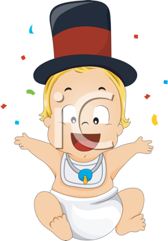 Royalty Free Clipart Image of a New Year's Baby
