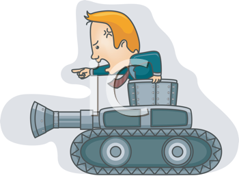 Royalty Free Clipart Image of a Man in a Suit in a Tank